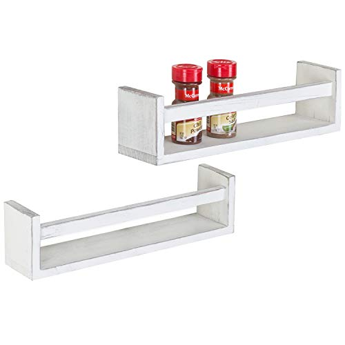 MyGift Set of 2 Vintage White Wood Wall-Mounted Spice Racks