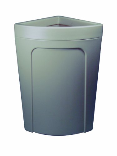 Continental 8324BN 21-Gallon Rim-Top Corner'Round LLDPE Waste Receptacle, Quarter Round, Brown