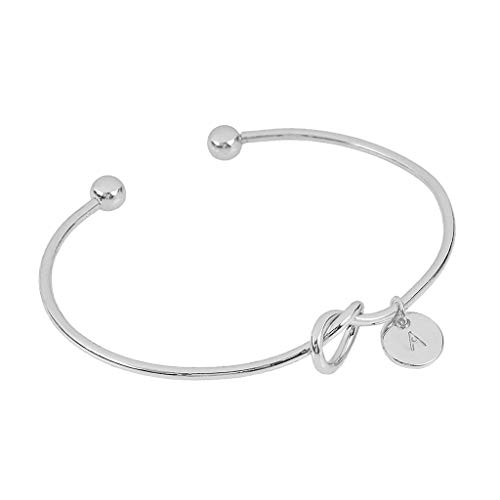 (Clearance! Hot Sale! ❤ European and American Style Heart Shape Metal Simple Knotted Bracelet 26 Letters Under 5 Dollars Valentine's Day Gifts for Girlfriend/Boysfriend 2019 New)