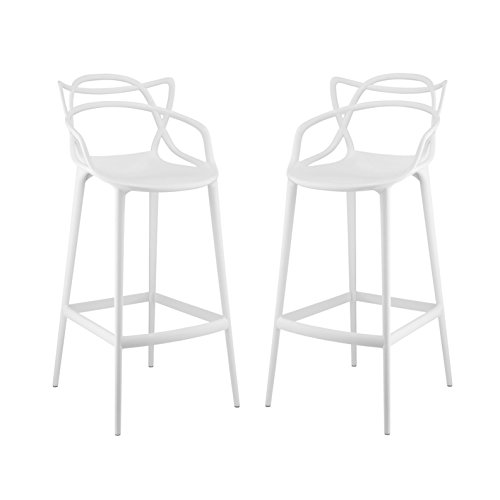 Modern Contemporary Urban Design Outdoor Kitchen Room Bar Stool Chair ( Set of Two), White, Plastic by America Luxury - Stools (Image #4)