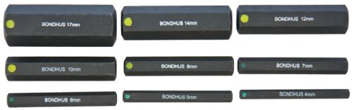 Bondhus 33298 4 - 17mm 2-Inch ProHold Socket Bits without So