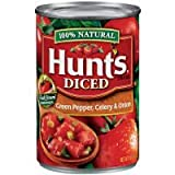 Hunt's, 100% Natural, Diced Tomatoes with Green Pepper, Celery & Onions, 14.5oz Can (Pack of 6)