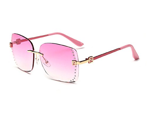 Konalla Square Rimless Gradient Lens Inlaid Crysstal Women's Sunglasses - Shell Tortise Glasses