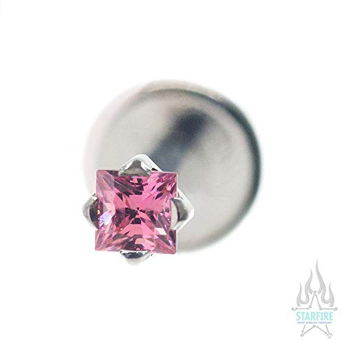 (Anatometal 16 ga. Flatback with 2mm Princess-Cut Brilliant Stone, SP - Salmon Pink)