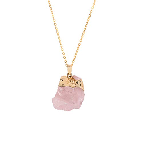 Joan Nunu Natural Raw Rose Quartz Stone Pendant Necklace for Women Healing Chakra Crystals with Three Different Chains ()