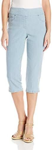 Ruby Rd. Women's Petite Size Pull-on Extra Stretch Denim Cropped Capri