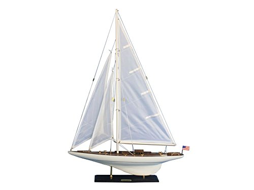 (Handcrafted Model Ships INT-R-35 Wooden Intrepid Model Sailboat Decoration - 35 in. )
