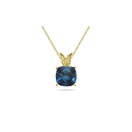 - 1.02-1.32 Cts of 6 mm AAA Cushion London Blue Topaz Solitaire Scroll Pendant in 14K Yellow Gold