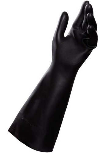 MAPA Technic NS-450 Neoprene and Natural Latex Glove, Chemical Resistant, 0.030'' Thickness, 16'' Length, Size 7, Black (Bag of 12 Pairs) by MAPA Professional (Image #1)