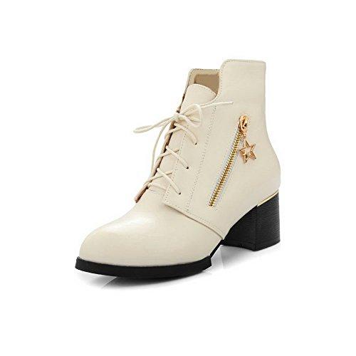 Low up Beige Kitten Heels Pointed Boots Allhqfashion Top Toe Pu Lace Women's Closed axw7xnYz6