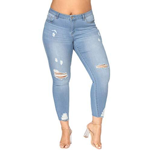 STRIR Vaqueros Talla Grande Mujer,Jeans EláStico De Cintura Alta Rotos Tejanos Pantalones Skinny Vaqueros Largos Denim 2XL-7XL