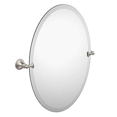 Moen DN2692BN Glenshire 26-Inch x 22-Inch Frameless Pivoting Bathroom Tilting Mirror, Brushed Nickel - WARM AND INVITING: Brushed Nickel finish provides a lightly brushed warm grey metallic look COORDINATING COLLECTION: Coordinates with other Moen bathroom accessories YOUR BEST ANGLE: Tilting mirror allows you to find your best angle - bathroom-mirrors, bathroom-accessories, bathroom - 31dHAOa7jYL. SS400  -