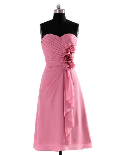 Landybridal Women's A Line Strapless Knee Length Party Dress Pink 00
