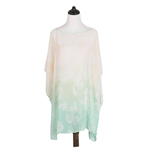 TrendsBlue Paisley Floral Ombre Chiffon Kimono Blouse Beach Cover up, Mint Ombre Silk Chiffon Dress
