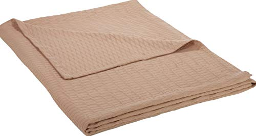 Hebel 100% Cotton Thermal Blanket, Soft and Breathable Cotton for All asons, Bed Blanket and Oversized Throw Blanket with Luxurious Diamond Weave - King Size, Khaki | Model BLNKT - 7 | 03King