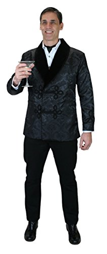 Historical Emporium Men's Vintage Brocade Smoking Jacket XL Black (Vintage Black Jacket Blazer Velvet)