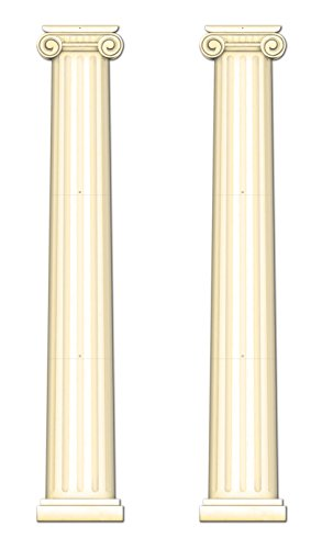 Greek Column Decorations (Beistle S54486AZ2 Jointed Column Pull-Down Cutout 2 Piece, Off-)