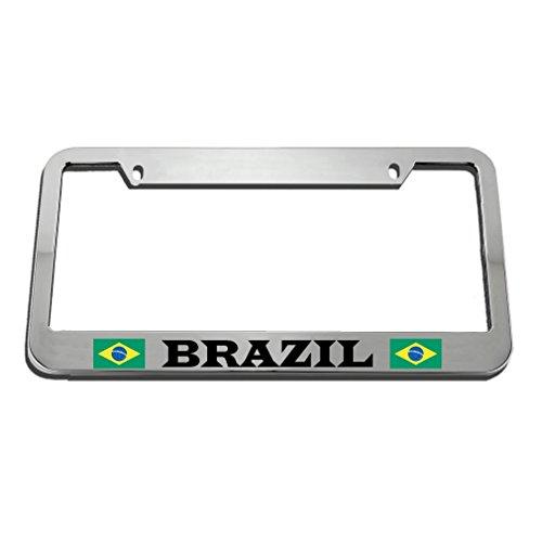 (Brazil Brazilian Flag Gold Country License Plate Frame Tag Holder KSLIDS)