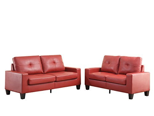 ACME Furniture 52745 Platinum II Sofa & Loveseat, Red Pu