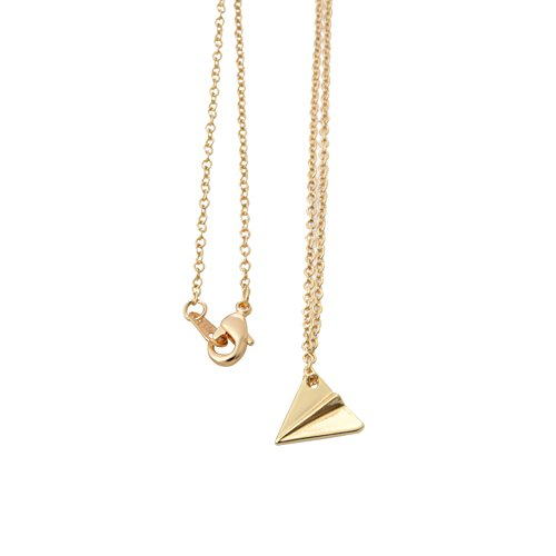 Delicate Tiny Airplane Pendant Necklace - Simple Long Chain Paper Plane Necklace for Women Girls