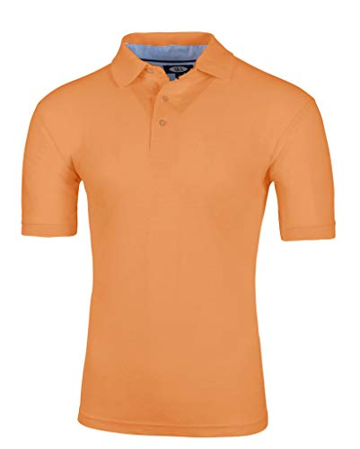 AKA Men's Solid Polo Shirt Classic Fit - Pique Chambray Collar Comfortable Quality Tangerine Medium ()