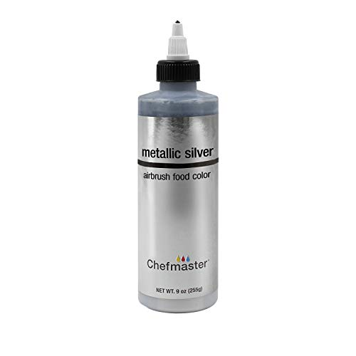 Chefmaster by US Cake Supply 9-Ounce Airbrush Cake Food Color Metallic - Food Silver Dark