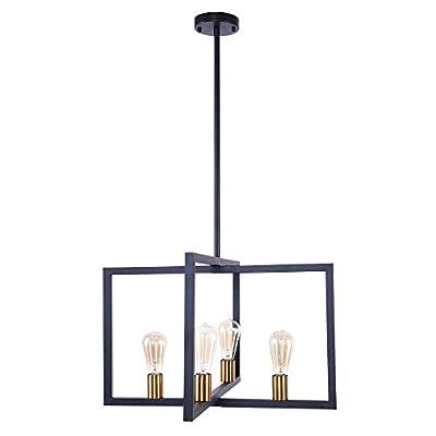 Lingkai 4-Light Kitchen Island Pendant Modern Dining Chandelier Ceiling Lighting Fixture Industrial Matte Black with Antique Brass Finish