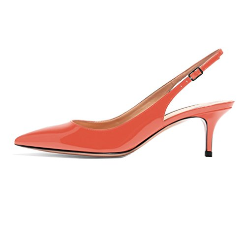 Kitten Shoes Slingback Heel Dress Comfortable Pumps Pointed Toe Sammitop Shoes Orange Women's FTX1xR