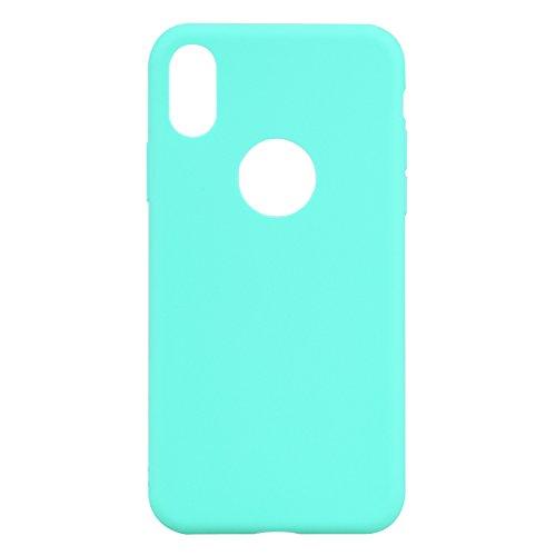 iPhone X Custodia , Leiai Moda Verde Peso Leggero Soft Silicone Morbido TPU Cover Case Shell Custodia per Apple iPhone X
