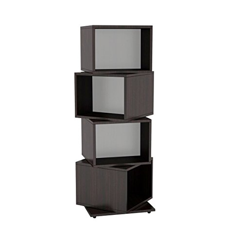 Atlantic 2823-5872 Rotating Cube 4-Tier Espresso Multimedia Storage Tower