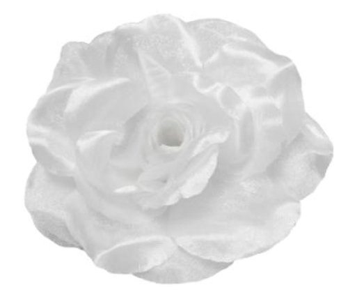 (Cuteque International CQA106-WHITE 3-Piece Packed Satin Organza Rose Embellishment, 4-Inch, White)