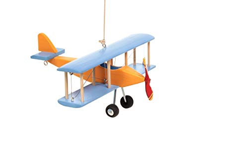 Hanging Airplane For Children Kid Room Nursery Fly Vintage Decor Yellow Blue Wooden 5''
