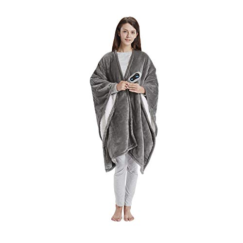 Beautyrest Ultra Soft Sherpa Berber Fleece Electric Poncho Wrap Blanket Heated Throw with Auto...