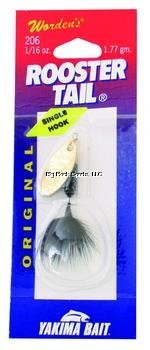 Wordens Rooster Tail (Wordens Single Hook Rooster Tail Lure, 1/16-Ounce, Black-Brass)