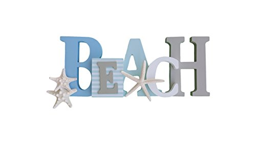 Tumbler Home Wooden Beach Word Sign with Trio of Loose Starfish - Tropical Beach Home Decor - Shabby Chic White Sand