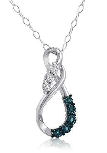 Blue and White Diamond Swirl Pendant-Necklace in Sterling ()