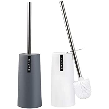 QJQBMAI 2 Pack Toilet Brush and Holder,Long Handle Stainless Steel Toilet Brush with Plastic Toilet Holder - White & Gray