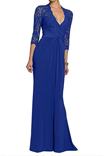 La_Marie Braut Rot Glamour Tief V-ausschnitt Brautmutterkleider Etuikleider fesltichkleider Langes Abendkleider mit Spitze Royal Blau zUa9LI