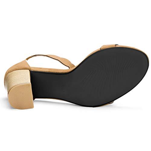 Block Scalloped 5 Allegra Heels Brown Us K Women's 6 Sandals Open Toe wIPPOR7Xq