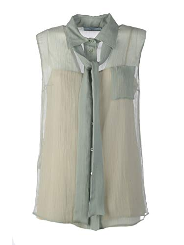Prada Women's P499cms191448f0d30 Grey Silk Tank Top ()