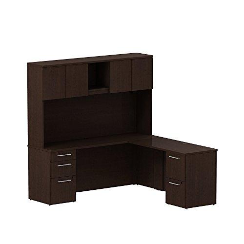 Bush Business Furniture 300S061MR 300 Series 72W x 22D L Shaped Office Desk with Hutch, 2 Pedestals and 48W Return, Mocha Cherry (L-shaped Office Pedestal)