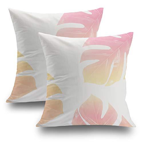 Shrahala Tropical Pillow Covers, Decorative Pillowcases 18x18 inch Set of 2 Aquamarine Colorized Traveler Palm Cushion Case for Sofa Bedroom Car Throw Pillow Covers Cushion Cover 45cm x 45cm