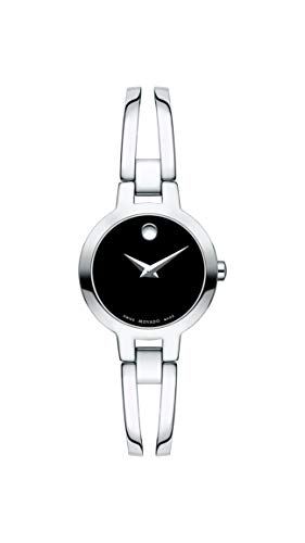 - Movado Women's Amorosa Stainless Watch with a Concave Dot Museum Dial, Silver/Black (Model 607153)