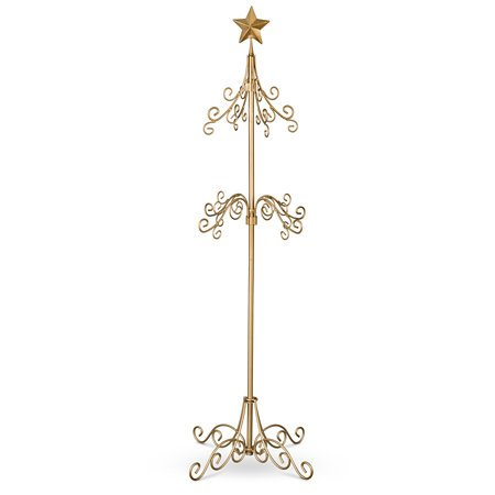 DermaPAD Tall Metal Christmas Stocking Holder Stand - Gold