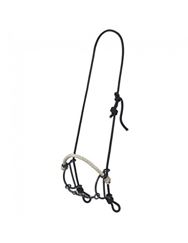 Ropes Headstall - Tough 1 Bit Rope Headstall Nose Dogbone Gag Combo Black Silver 25074-0