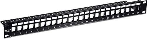 "TRENDnet 24-Port Blank Keystone Shielded 1U Patch Panel, STP, Cat6A, Cat5, Cat5e, Cat6, 19"" Rackmount Design, TC-KP24S"