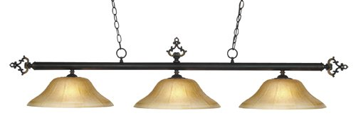 Elk 190-14-Gb-G6 Designer Classics 3-Light Billiard Light, 14-Inch, Golden Bronze With Amber Gratina Glass Shades