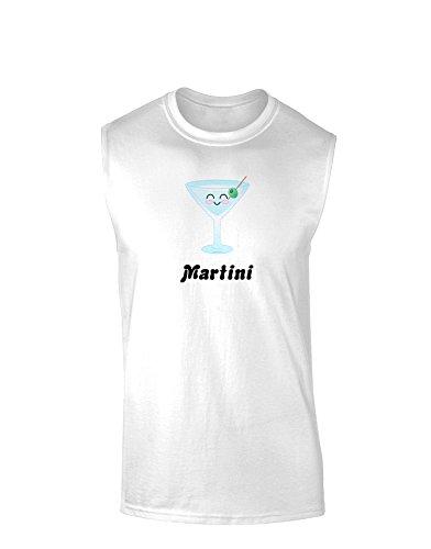 Cute Martini Text Muscle Shirt - White - Medium