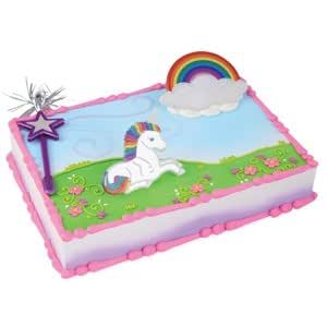 Amazon Com Rainbow Unicorn Princess Cake Kit Topper Toys