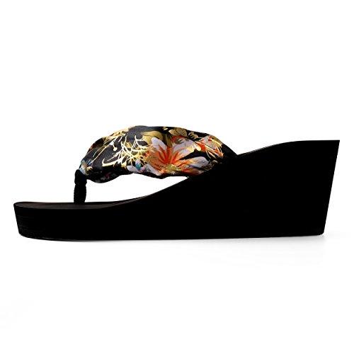 Aerusi Womans Floral Band Wedge Style Flip Flop Sandals Black Uf0dc